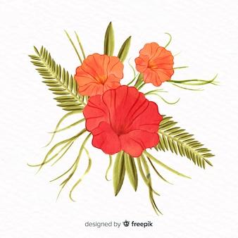 Flor coral de estilo aquarela