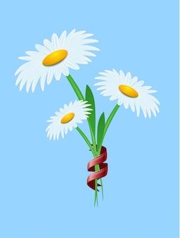 Flor da margarida branca no lugar de anúncio dos azul-céu