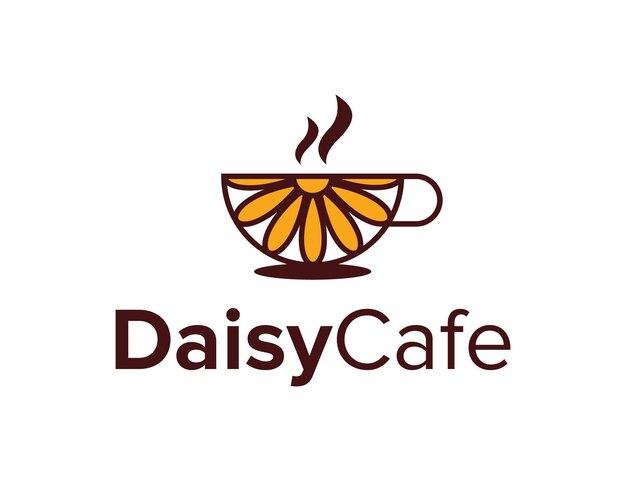 Flor da margarida e café simples, elegante, criativo, geométrico, moderno, logotipo