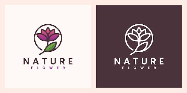 Flor da natureza com um belo design de logotipo em cores