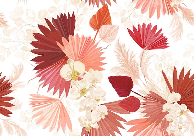 Flor da orquídea tropical, folhas de palmeira, grama dos pampas, fundo sem emenda do vetor lunaria. padrão de flores secas de selva. projeto boho aquarela para casamento, impressão têxtil, textura de papel de parede, pano de fundo