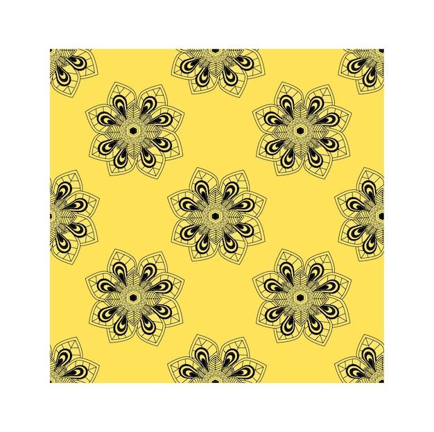 Flor das artes da garatuja no fundo amarelo.