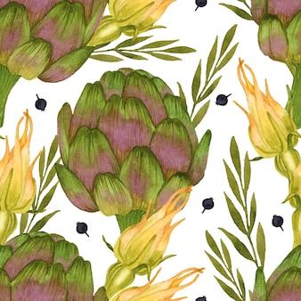 Flor de abobrinha alcachofra vegetal aquarela sem costura padrão em fundo branco