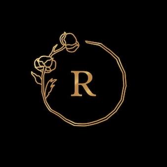 Flor de algodão e moldura do monograma do ramo de ouro. guirlanda redonda com espaço de cópia. distintivo em estilo linear minimalista na moda. logotipo do vetor com a letra r e planta de algodão. para cosméticos, casamento, florista Vetor Premium