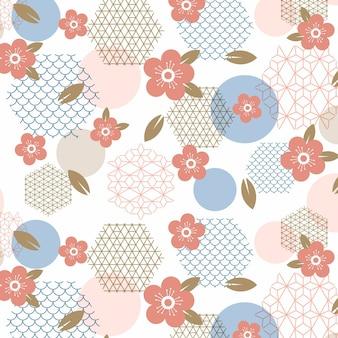 Flor de ameixa geométrica vintage sem costura padrão