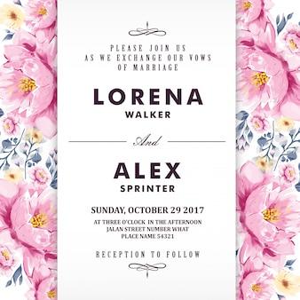 Flor de aquarela de cartão de convite de casamento floral