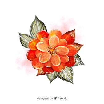 Flor de aquarela vista superior com folhas pretas