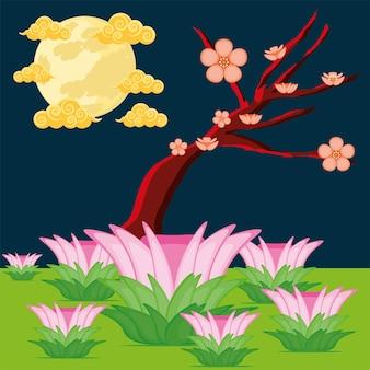 Flor de árvore chinesa e lua