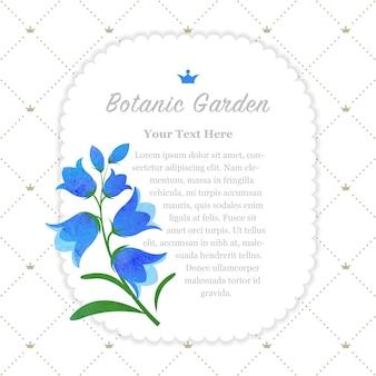 Flor de bluebell com moldura de jardim botânico