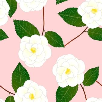 Flor de camélia branca em fundo rosa