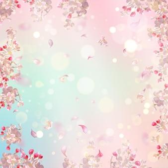 Flor de cerejeira e pétalas voadoras