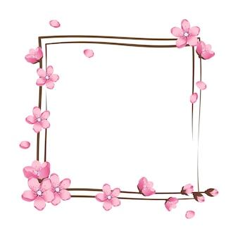 Flor de cerejeira grinalda rosa linda flor sakura moldura Vetor Premium