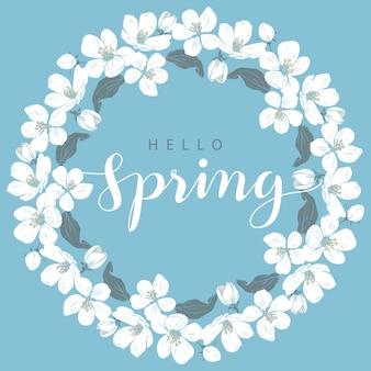 Flor de cerejeira redonda quadro com olá letras de primavera Vetor Premium