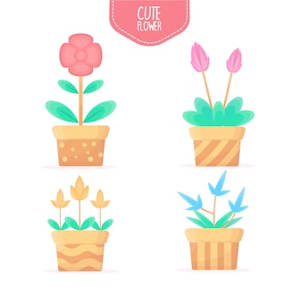 Flor de coleção na ilustração de pote