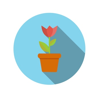 Flor de conceito de design plano em ilustração vetorial de panela com sombra longa. eps10