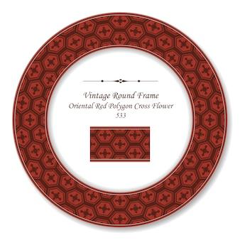 Flor de cruz de polígono vermelho oriental com moldura retro vintage