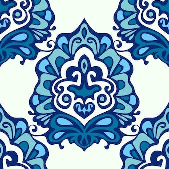 Flor de damasco luxuosa sem costura padrão azul fundo vintage