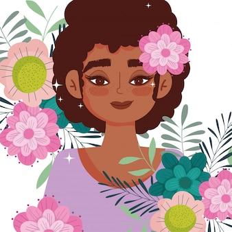 Flor de desenho animado de mulher afro-americana em ilustração vetorial de retrato de folhagem principal