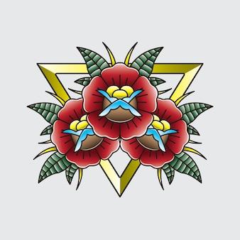 Flor de flash de tatuagem vintage