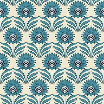 Flor de folha de ponto azul botânico retro padrão sem emenda