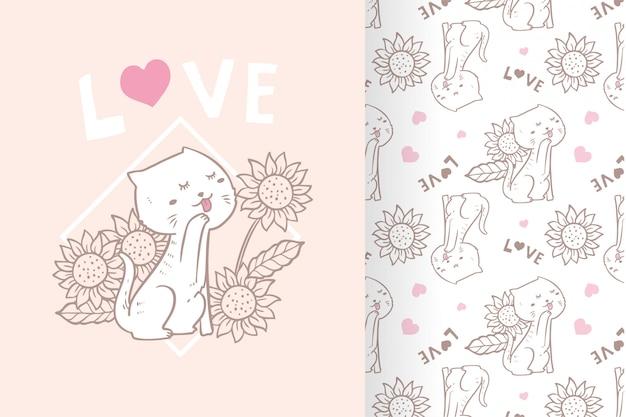 Flor de gato bonito mão desenhada de vetor com conjunto padrão
