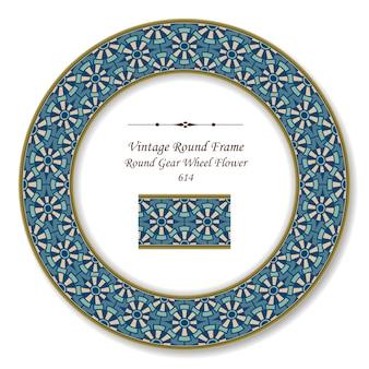 Flor de geometria de roda de engrenagem de quadro retro redondo vintage, estilo antigo