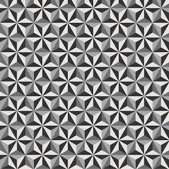 Flor de hexágono de fundo padrão geométrico sem costura com preto e branco