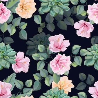 Flor de hibisco, suculentas e tropical deixa ilustração vetorial de padrão sem emenda