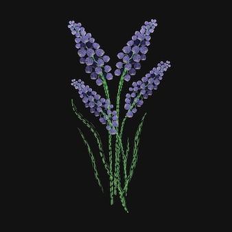Flor de lavanda bordada com pontos roxos e verdes. lindo desenho de bordado com ervas aromáticas ou plantas com flores