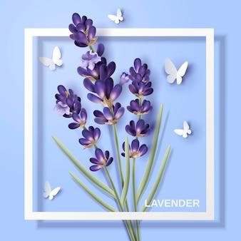 Flor de lavanda, flor atraente com borboletas de papel e moldura branca na ilustração