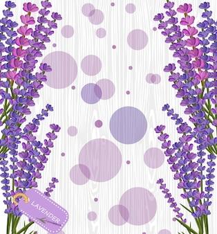 Flor de lavanda na textura de madeira branca, bokeh roxo