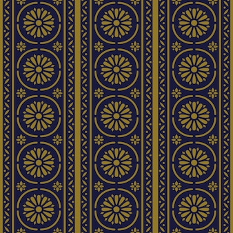Flor de linha cruzada de curva redonda padrão antigo sem costura