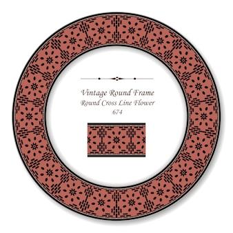 Flor de linha cruzada moldura retro vintage redonda, estilo antigo