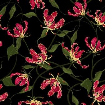 Flor de lírio de chama vermelha botânica de fundo vector sem costura