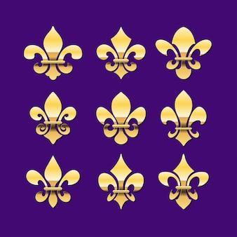 Flor de lis de ouro ou coleção de símbolo de lírio real