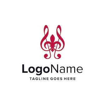 Flor de lis e notas musicais simples, elegante, criativo, geométrico, moderno, logotipo, design