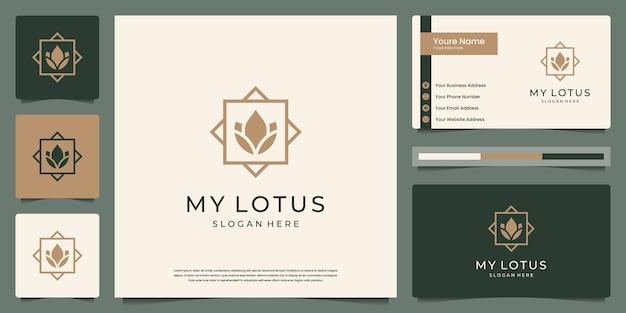 Flor de lótus de beleza minimalista com logotipo de luxo em moldura e design de cartão de visita