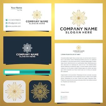 Flor de lótus de linha e cartão de visita premium