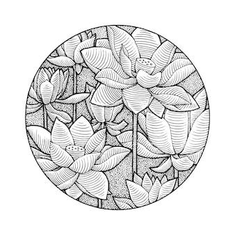 Flor de lótus desenhada à mão