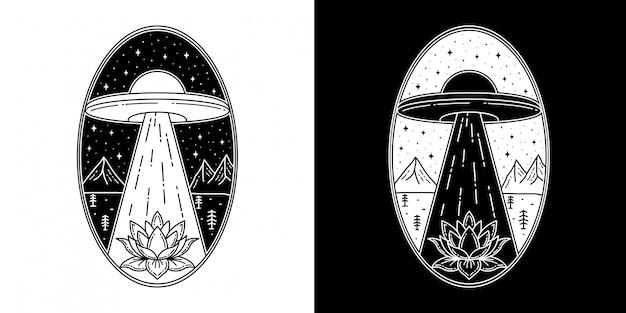 Flor de lótus e design de crachá de ufo monoline