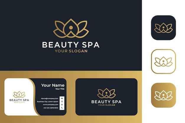 Flor de lótus elegante para design de logotipo e cartão de visita de spa e ioga