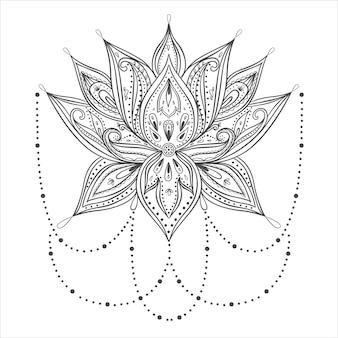 Flor de lótus ornamental vetorial, arte étnica, paisley indiano estampado