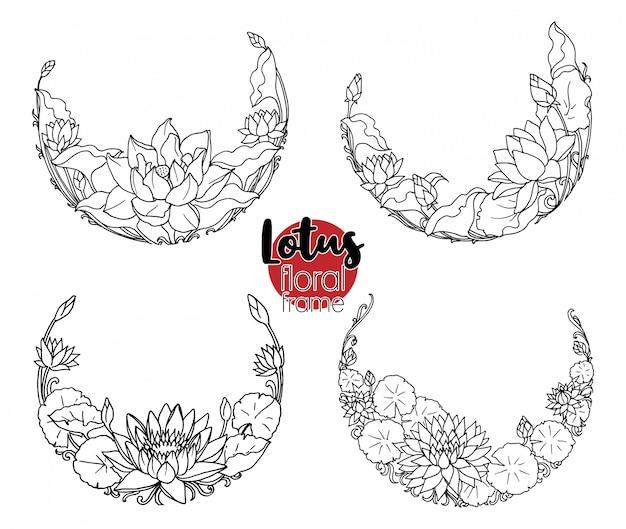 Flor de lótus redonda floral