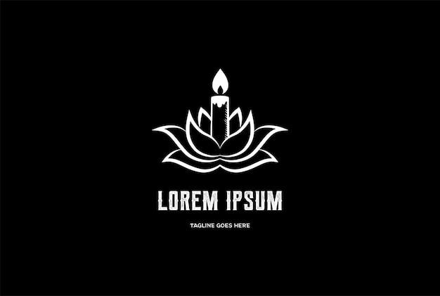 Flor de lótus vintage com luz de vela para spa ioga meditação bem-estar design de logotipo em vetor