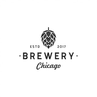Flor de lúpulo para design de logotipo de cervejaria de cerveja