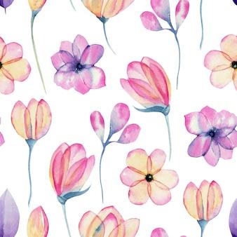 Flor de maçã rosa pastel aquarela flores padrão sem emenda, pintados à mão