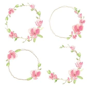 Flor de magnólia em aquarela rosa desabrochando e coleção de moldura de ramo