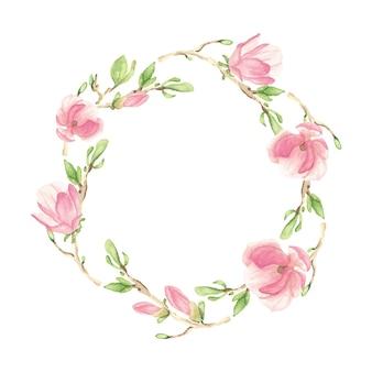 Flor de magnólia em aquarela rosa florescendo e moldura de coroa de ramo