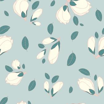 Flor de magnólia sem costura padrão