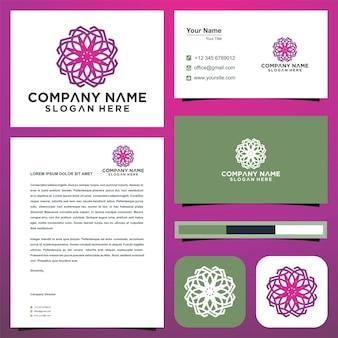Flor de mandala de lótus logotipo e cartão de visita premium